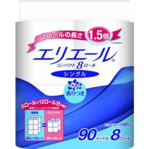 大王製紙 エリエール トイレットティッシュ コンパクト 香りつき シングル 90m×8R入 【日用消耗品】