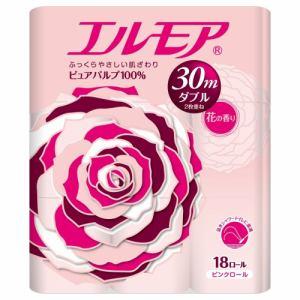 カミ商事 エルモア トイレットロール 18ロール ピンクダブル 2枚重ね30m 花の香り