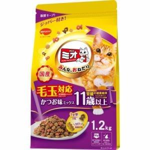 日本ペットフード  ミオドライミックス 毛玉対応11歳以上かつお味  1.2kg