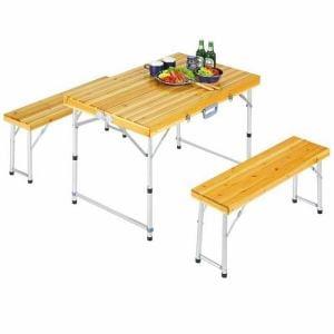 CAPTAIN STAG M-3770 キャプテンスタッグ シダー 杉製 ベンチテーブルセット(ナチュラル)