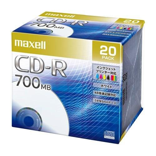マクセル(Maxell) CDR700SPNW20S データ用CD-R ホワイトレーベルディスク 2-48倍 700MB 20枚 うす型5mmケース
