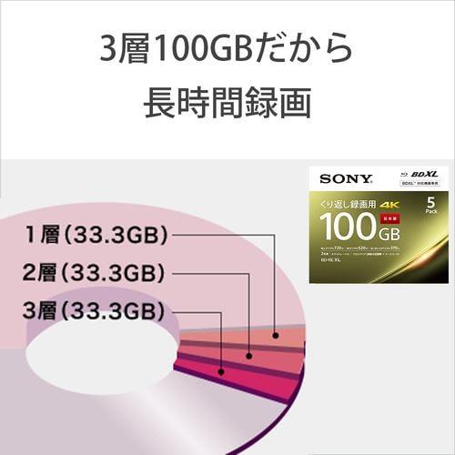 ソニー 5BNE3VEPS2 BDメディア100GB ビデオ用 2倍速 BD-RE XL 5枚パック ホワイト