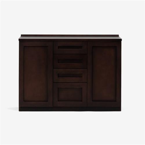 大塚家具 サイドボード「ヴィータ2」幅120cm ホワイトオーク材ダークブラウン色