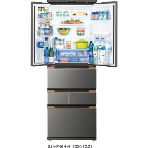 シャープ SJ-MF46H-H 6ドアプラズマクラスター冷蔵庫 (457L・フレンチドア) ダークメタル