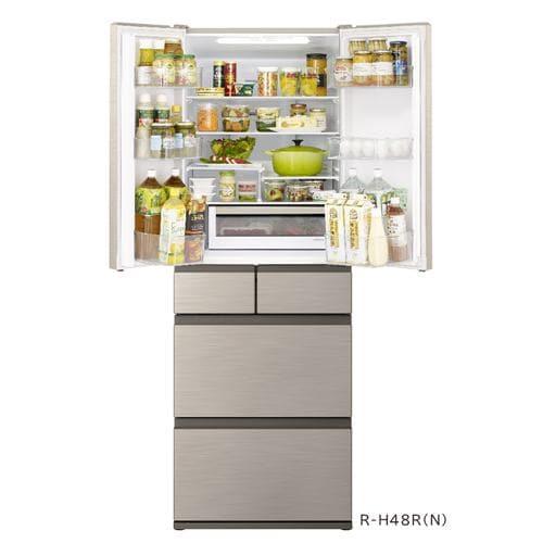 日立 RH48RN 6ドア冷蔵庫 (475L・フレンチドア) シャンパン
