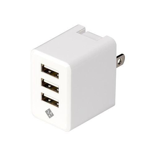 デジオ JYU-ACU02W スマートフォン タブレット用AC充電器 USB3ポート 3.4A出力 おまかせ同時充電機能付 ホワイト