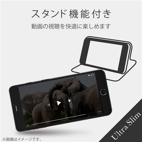 エレコム PM-A19APLFUCB iPhone SE(第2世代) ソフトレザーケース 薄型 磁石付 カーボン調(ブラック)