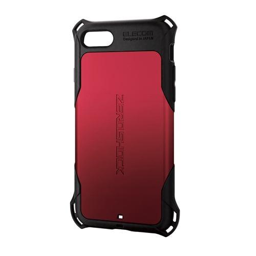 エレコム PM-A19AZERORD iPhone SE(第2世代) ZEROSHOCK スタンダード レッド