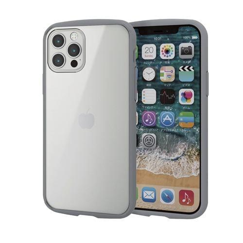 エレコム PM-A20BTSLFCGY  iPhone 12/12 Pro ハイブリッドケース TOUGH SLIM LITE フレームカラー グレー