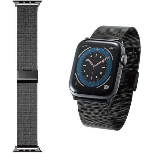 エレコム AW-44BDSSMBK Apple Watch 44 42mm バンド ステンレス ミラネーゼタイプ ブラック