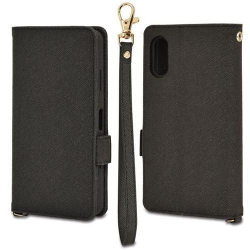 ラスタバナナ 6113XPA2BO Xperia Ace II 手帳型ケース+ハンドストラップ ブラック