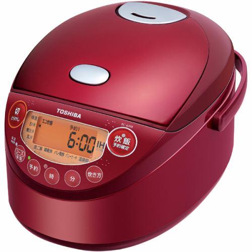 炊飯器 東芝 RC-6XM-R IH炊飯器 備長炭鍛造かまど釜 3.5合炊き グランレッド 3.5合