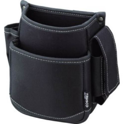 TRUSCO 腰袋 2段 携帯電話ホルダー付き ブラック