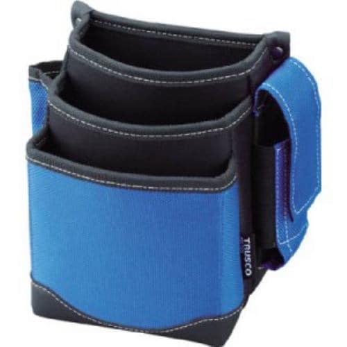 TRUSCO 腰袋 3段 携帯電話ホルダー付き ブルー