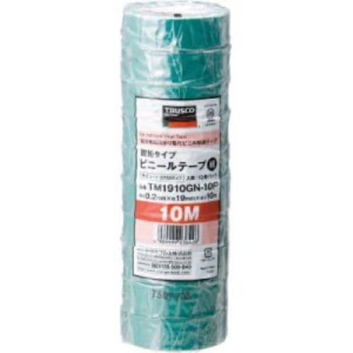 TRUSCO 脱鉛タイプ ビニールテープ 19X10m グリーン 10巻入り