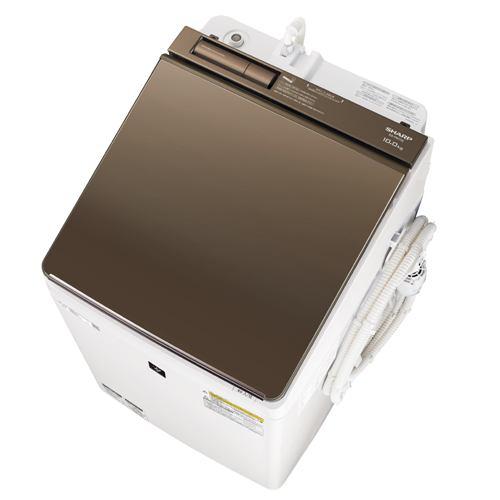 シャープ ES-PW10E 縦型洗濯乾燥機 (洗濯10.0kg/乾燥5.0kg) COCORO WASH ブラウン系