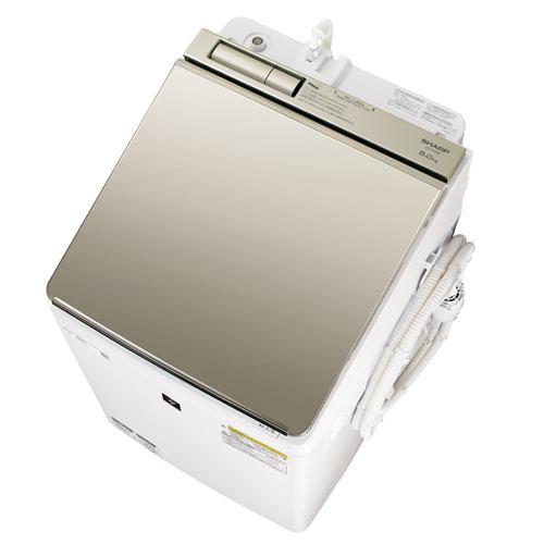 洗濯機 シャープ 乾燥機付き 8KG ES-PW8E 縦型洗濯乾燥機 (洗濯8.0kg/乾燥4.5kg) COCORO WASH ゴールド系