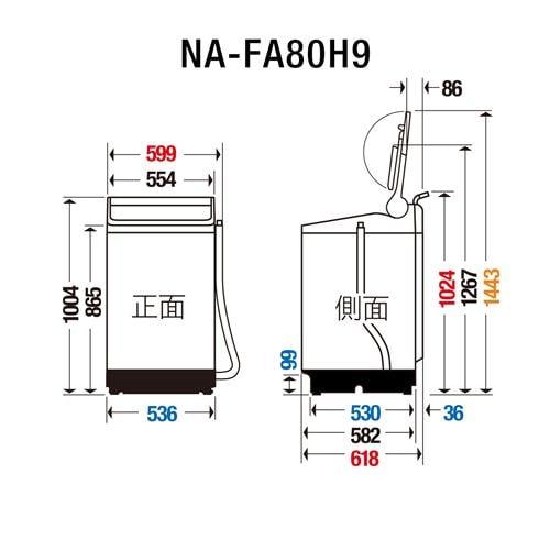 パナソニック NA-FA80H9-N 全自動洗濯機 (洗濯・脱水8kg) シャンパン