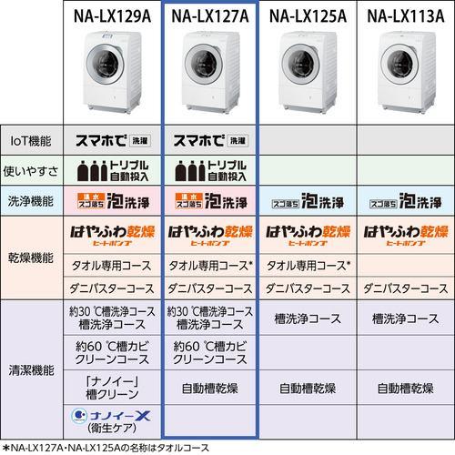 Panasonic NA-LX127AL-W ななめドラム洗濯乾燥機 マットホワイト
