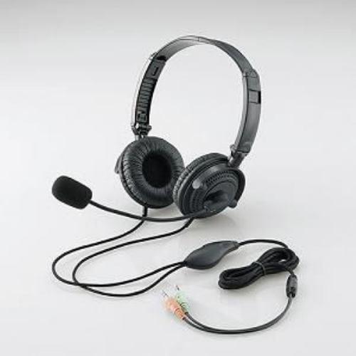 折りたたみヘッドセット(両耳オーバーヘッド)/ 1.8m/ ステレオミニ/ ブラック HS-HP20BK