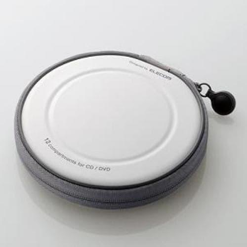 ケース エレコム CD DVD CCD-H12WH CD/DVDファスナーケース 12枚収納 ホワイト