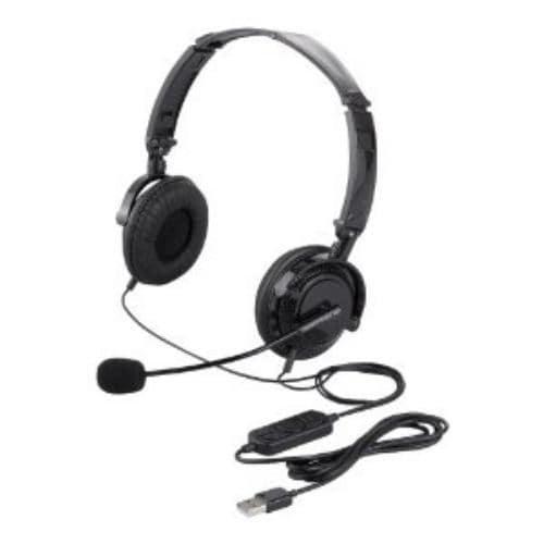 ヘッドセット バッファロー BSHSUH13BK 両耳ヘッドバンド式ヘッドセット USB接続/折りたたみタイプ ブラック