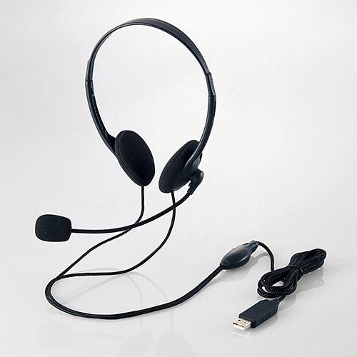 ヘッドセット エレコム HS-HP27UBK USBヘッドセット 両耳小型オーバーヘッドタイプ ブラック