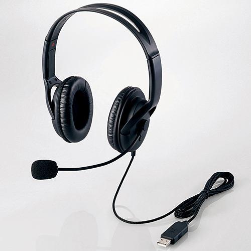 ヘッドセット エレコム HS-HP28UBK USBヘッドセット 両耳大型オーバーヘッドタイプ ブラック
