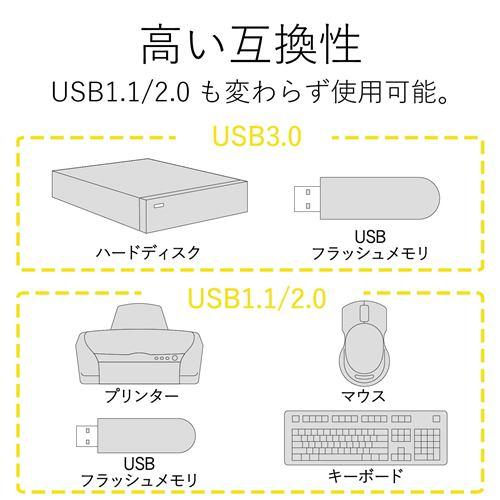 エレコム U3H-K315BBK 3ポートUSB3.0ハブ(ケーブル固定タイプ)