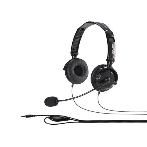 バッファロー BSHSHCS310BK 両耳ヘッドバンド式ステレオヘッドセット 折りたたみタイプ ブラック
