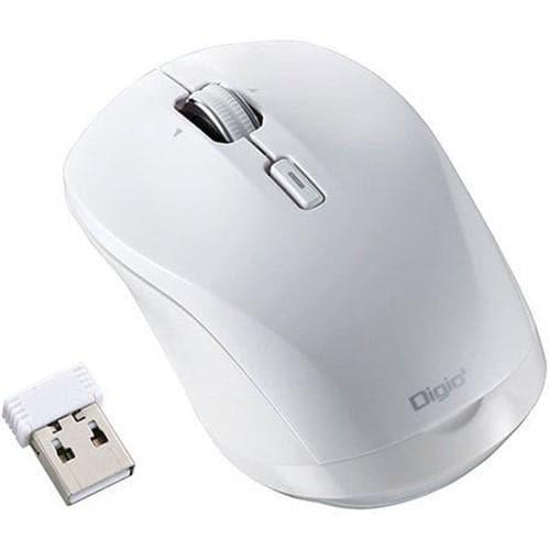 デジオ MUS-RKT162W BLUE LED 無線マウス 小型静音高速スクロール 3ボタン ホワイト