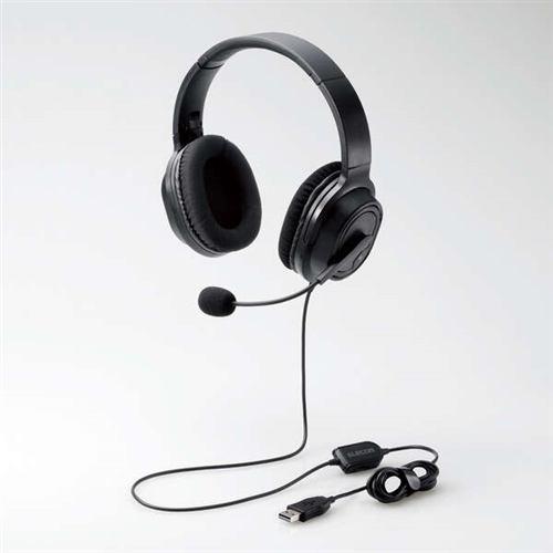 エレコム HS-HP30UBK 両耳オーバーヘッドタイプ USB ヘッドセット