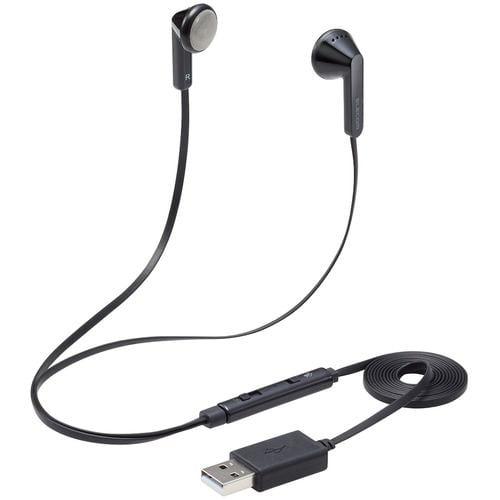 エレコム HS-EP19UBK インナーイヤー型ヘッドセット セミオープン ミュートスイッチ付 両耳 USB ブラック
