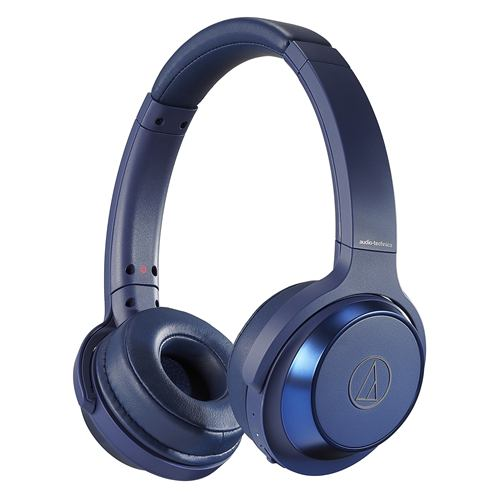 オーディオテクニカ ATH-WS330BT BL ワイヤレスヘッドホン 重低音 マイク対応 ブルー