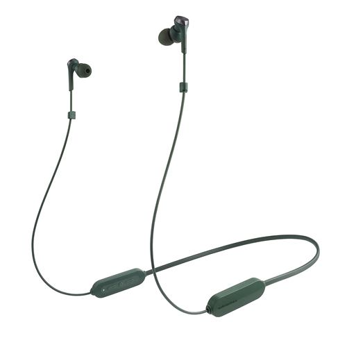 オーディオテクニカ ATH-CKS330XBT GR ワイヤレスイヤホン Bluetooth ネックバンド マイク対応 グリーン