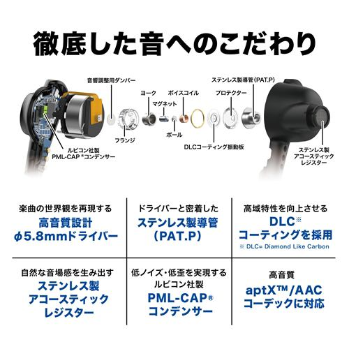 オーディオテクニカ ATH-CKR70TW BK ワイヤレスイヤホン ブラック