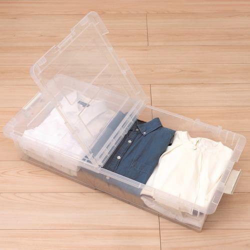 [幅39×奥行80×高さ16.5cm] 収納ケース プラスチック キャスター付き フタ付き ベッド下収納 クリア