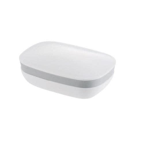 石けん置き 液漏れ防止パッキン付き リッチェル ハユール 角 ホワイト 高さ4.5cm 洗面収納