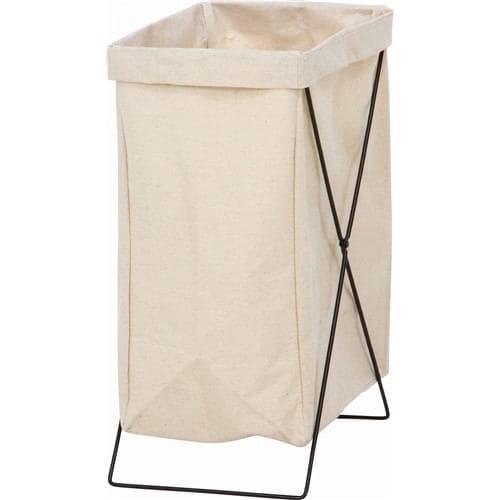 [幅24×奥行35×高さ52cm] ランドリーバスケット 大容量 おしゃれ 折りたたみ収納 スリム ゴミ箱 おもちゃ入れ アイボリー