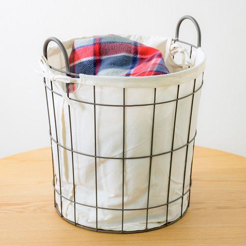 [直径35×高さ35(42)cm] 丸型ワイヤーランドリーバスケット 51-04 おしゃれ ホワイト
