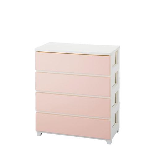 収納用品 カラースタイルチェストワイド 4段 ホワイトピンク 1個