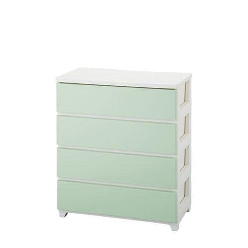 収納用品 カラースタイルチェストワイド 4段 ホワイトグリーン 1個