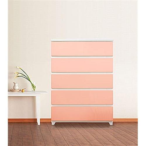 収納用品 カラースタイルチェストワイド 5段 ホワイトピンク 1個