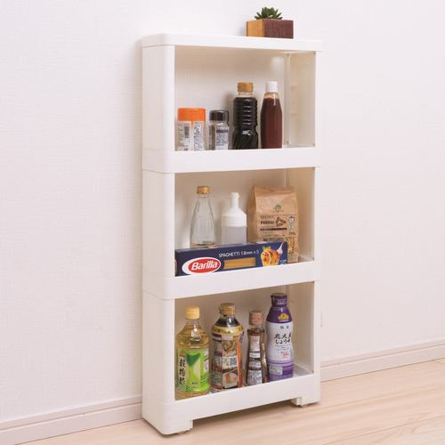 [幅12×奥行40×高さ85cm] スーパースリムラック キッチン収納 4段 ホワイト リセ 隙間