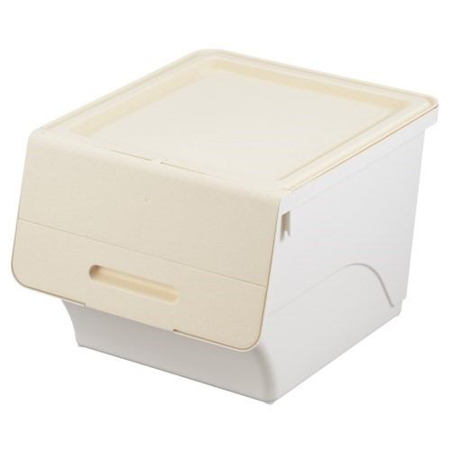 [幅38.5×奥行46×高さ31cm] 収納ケース ホワイト フタ付き 重ねたままで出し入れ可能