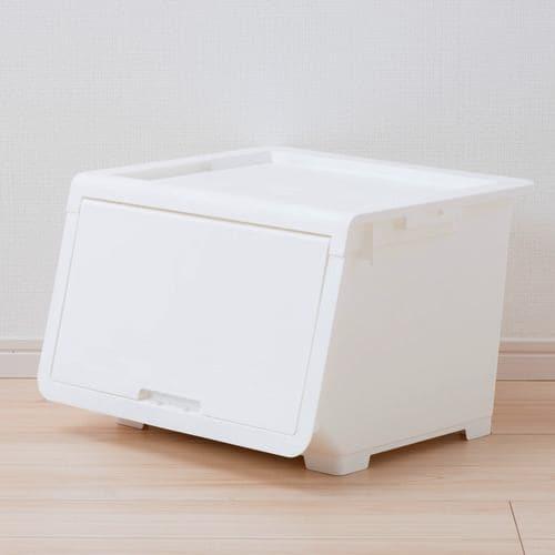 [幅45×奥行43.1×高さ31cm] 収納ケース プラスチック ホワイトM フタ付き ロッキンポッド 重ねたままで出し入れ可能