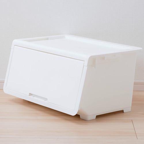 [幅60×奥行43.1×高さ31cm] 収納ケース プラスチック ホワイトL フタ付き ロッキンポッド 重ねたままで出し入れ可能