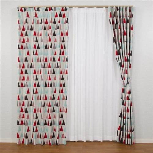 [100×200]カーテン フラッグ レッド2枚入 遮光性あり 形状記憶加工 ウォッシャブル