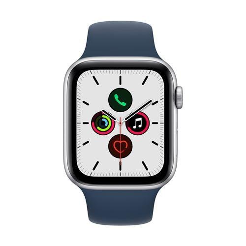 アップル(Apple) MKQ43J/A Apple Watch SE(GPSモデル) 44mm シルバーアルミニウムケースとアビスブルースポーツバンド レギュラー