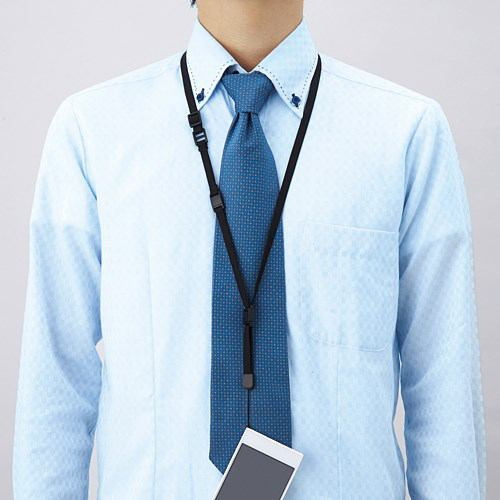 エレコム スマートフォン用ネックストラップ ブラック スタンダード P-STN01BK